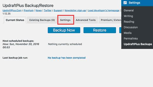settings-upbackups چگونه با افزونه UpdraftPlus از وردپرس بک آپ بگیریم ؟