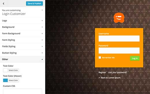 login-page-customizer ۱۶ افزونه برای سفارشی سازی ورود