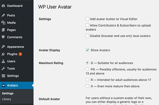 wpuseravatar-settings اضافه کردن عکس نویسنده در وردپرس