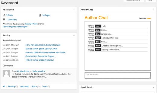 authorchat-dashboard-mabnawp پلاگین وردپرس Author Chat چت و گفتگو بین نویسندگان