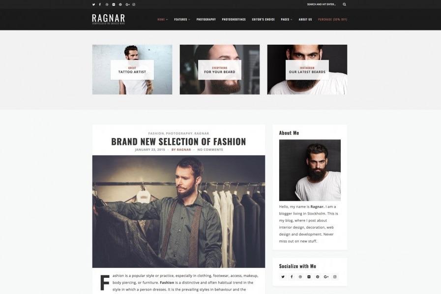 قالب شخص و وبلاگی Ragnar Lite وردپرس
