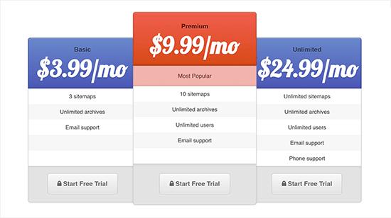 pricingtablepreview جدول قیمت زیبا برای وردپرس