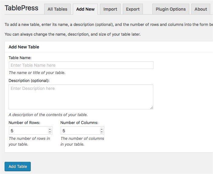 TablePress-mte-Add-Table آموزش وردپرس چگونه یک جدول زیبا در وردپرس ایجاد کنیم