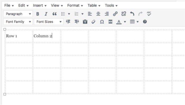 TablePress-mte-TinyMCE-table